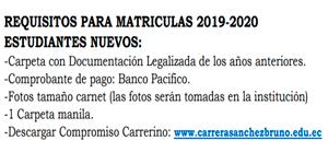Lee más sobre el artículo Requisitos, Matrícula 2019-2020